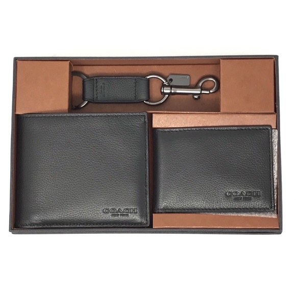 Coach Other - Coach F64118 Men's Boxer Compact ID Wallet Black
